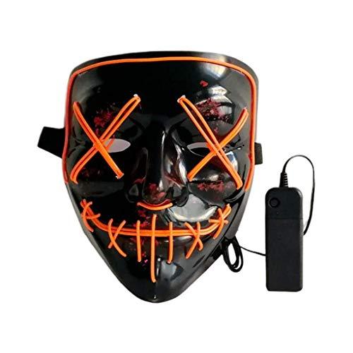 LED Maske Halloween Scary Maske Cosplay Led Kleidung Maske EL Wire Leuchten for Halloween Festival Party, Dance Ball, Rave Cosplay, Orange - Guten Rave Kostüm Jungs