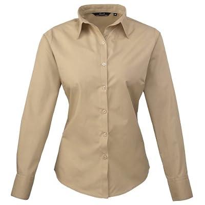Premier Womens/Ladies Poplin Long Sleeve Blouse / Plain Work Shirt (10) (Khaki)