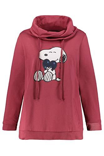 Ulla Popken Damen große Größen bis 64, Sweatshirt mit XL-Snoopy-Moti. Hoher Stehkragen mit Bindeband, 2 Taschen, Lange Ärmel, Rippbündchen, Matte Beere 46/48 720755 80-46+