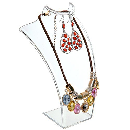 Acrylic Necklace & Earring Jewelry 3D Bust Display Stand, 8-Inch - MyGift