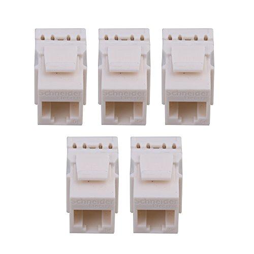 bqlzr weiß cat5e Inline-Koppler 180Grad Extender Adapter Buchse auf Buchse mit Keystone Latch 5Stück (Cat5e Weiß Keystone Coupler)