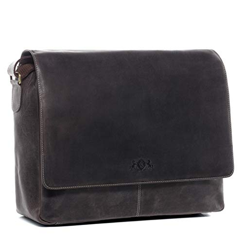 SID & VAIN Laptoptasche Messenger Bag echt Büffel-Leder Spencer groß Businesstasche 15 Zoll Laptop Umhängetasche Herren braun
