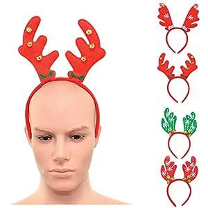 Shatchi 15648-HEADBENDS-4pcs 4pcs Navidad Diademas reno Cuernos Diferentes Estilo Vacaciones Navidad Accesorio de Navidad Talla Única Bolsa de Fiesta Calcetín Fillers Fun Selfie, Multi