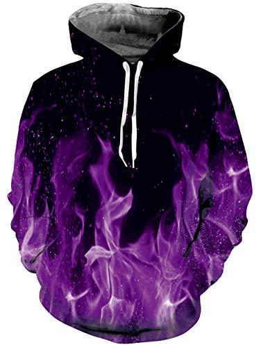 Loveternal 3D Kapuzenpullover Flamme Hoodie Baumwolle Sport Gym Workout Pullover Hoodie Sweatshirt für Damen Herren Lila XXL Lila Sweatshirt Hoodie