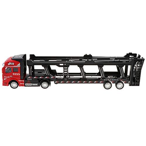 ck Auto, Zurückziehen Autotransporter Trailer LKW Spielzeugauto Sammlung Geschenk für Kinder und Erwachsene - Rot ()