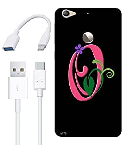 Combo of O Alphabet Floral HD UV Printed Mobile Back Cover, Charging Cable and OTG Cable For Letv Le 1S