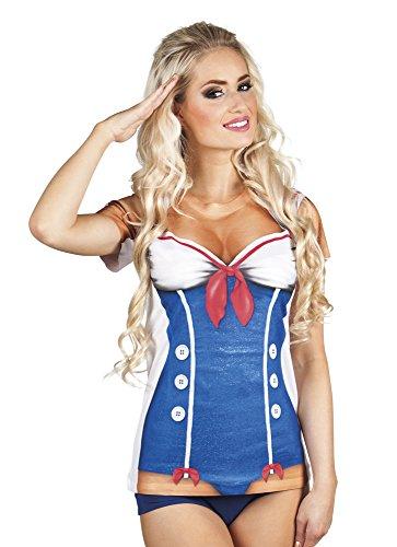 Zubehör Kostüm Girl Sailor - Boland 84264 Photorealistisches Shirt Sailor Girl womens M