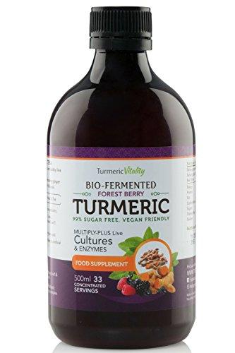 Fermentiertes Curcuma (Kurkuma), hochdosiert (900 mg) - Mit 6 Milliarden Probiotika für die Verdauung und Immunsystem + Enzyme, schwarzer Pfeffer und Ingwer | Wildbeeraroma | 99% zuckerfrei, vegan (Nahrungsergänzung Superfood, Antioxidative)