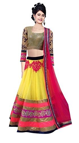 Clickedia Women's Embroidered Net Yellow & Pink Lehenga Saree (Lehenga Yellow Pink 806)  available at amazon for Rs.599