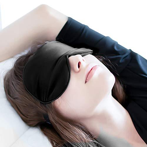 Schlafmaske Premium, Augenmaske Nachtmaske Verstellbarem Gummiband 100% Hautfreundlich Seide Geruchneutral Schlafbrille mit Ohrstöpseln für Damen und Herren JAANY -