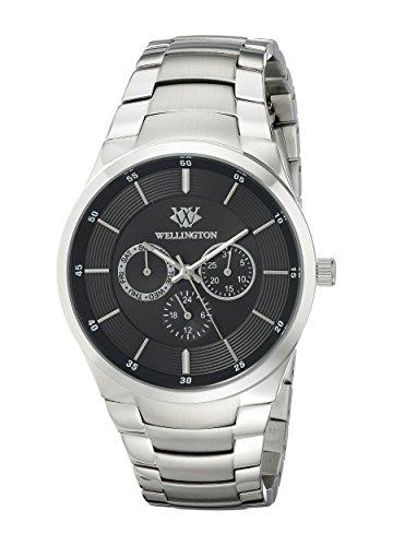 Wellington–Reloj de hombre de cuarzo con Negro esfera analógica pantalla y plata pulsera de acero inoxidable WN601–121