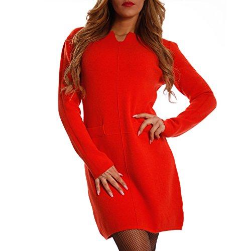 Damen Oversize Strickkleid Long Pullover mit kleiner Öffnung , Farbe:Lachsrot;Größe:One Size