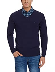 Louis Philippe Mens Woollen Sweater (8907545257376_LPSW516M04630_Small_Dark Blue Solid )