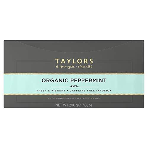 Taylors of Harrogate Organic Peppermint, 100 Tea Bags (Pack of 1, Total 100 Teabags)