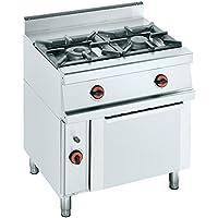 Macfrin S2SH Cocina a Gas de 2 Fuegos y Horno Con Gratinador