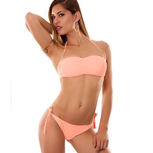 Toocool - Bikini costume fascia brasiliana moda mare donna B1557 DD ARANCIONE CHIARO FLUO
