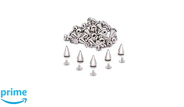 50 x Silver Cone Screw Back Spikes Studs For Denim Rock Leather Jacket 7 x 14mm