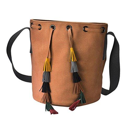 Koly_Lady Fashion Handbag Tassel Shoulder Bag Borsa borsa Marrone