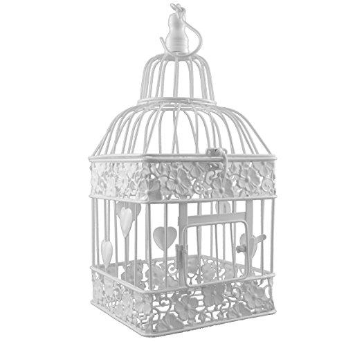 PrimoLiving Gabbia per Uccelli in Metallo, Rettangolare, Bianco