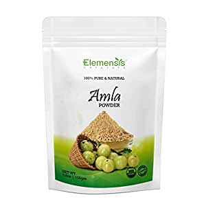 Elemensis Naturals Pure & Natural Amla Powder for Face, Healthy and Strong Hair and Hair fall Control Repairs damaged hair Care & Scalp Treatment, 100gm