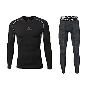 Barrageon Herren Langarm Kompressionsshirt und Kompressionshose Schnell Trocknend Kompression Funktionswäsche Sets Elastisch Sport Unterhemd Legging Fitness Lauf Gym Training Jogging T-Shirt + Hose