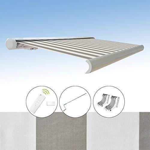 Markise elektrische Kassettenmarkise Gelenkarm Vollkassettenmarkise 3x2,5 m, Markisentuchfarbe:A2006 / Grau-Weiß