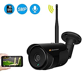 WiFi Camera Outdoor,Jennov HD 5MP Wifi Wireless Security IP Camera Two-Way Audio Home CCTV Surveillance IP66 Waterproof Outddor IR-CUT Night Vision Pre-installed 32G SD Card (Black)...