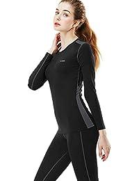 MEETYOO Conjuntos térmicos Mujer, Ropa Interior termica Invierno Base Layer Thermo Pantalones para Running Ciclismo Esquí