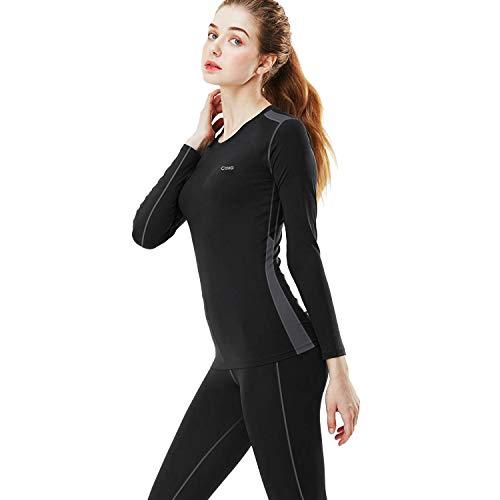 MEETYOO Thermounterwäsche Set Damen, Basic Langarmshirt Atmungsaktiv Skiunterwäsche Winter Funktionsunterhemd Sport Base Layer für Workout Skifahren Laufen Wandern