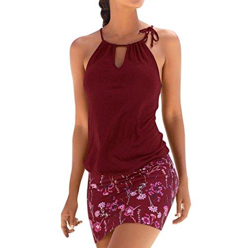 Vestido mujer verano Mini vestido casual sin mangas de playa de impresión retro de mujeres vestido de playa niña Vestido de fiesta Vestir Ropa Falda Chaleco Camisetas Amlaiworld (Vino rojo, XL)