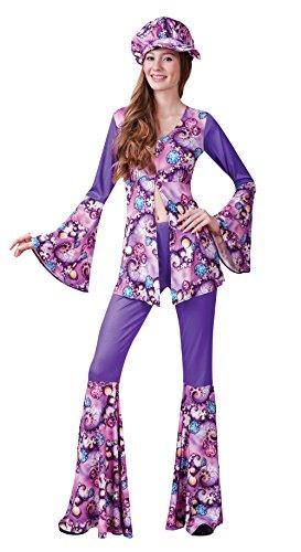 Bristol Novelty ac755Groovy Hippie-Frau Kostüm, Größe - 10-12 Damen Größe Halloween-kostüme
