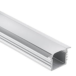 LED Aluminium Profil PL3 Glanfar LED Profil 2 Meter für LED Streifen & LED Flexbänder + Abdeckung Opal Aluprofil mit Flügel