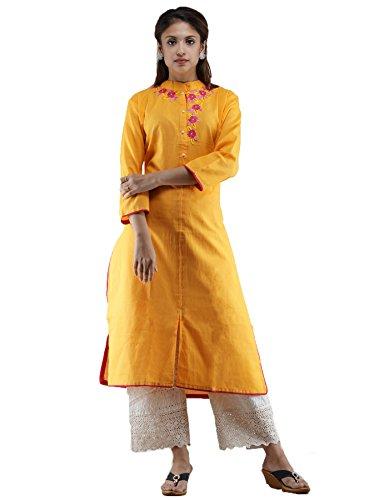 Unnati Silks Women Yellow Pure Khadi Cotton A-line Kurta