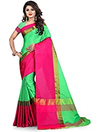Aksh Fashion Women's Emblished Dailywear Banarasi Cotton Silk Saree With Blouse(_