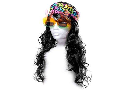 ALSINO Hippie Kleidung Damen Hippie-Outfit 60er Jahre Herren Karneval Fasching 70er Jahre Perücke Flower Power Brille Stirnband Bandana KV-82