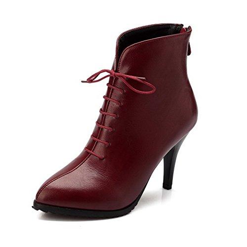 AgooLar Damen Hoher Absatz Weiches Material Niedrig-Spitze Rein Reißverschluss Stiefel, Blau, 37