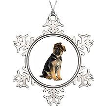 pastore tedesco cucciolo ceramica rotonda di Natale ornamento