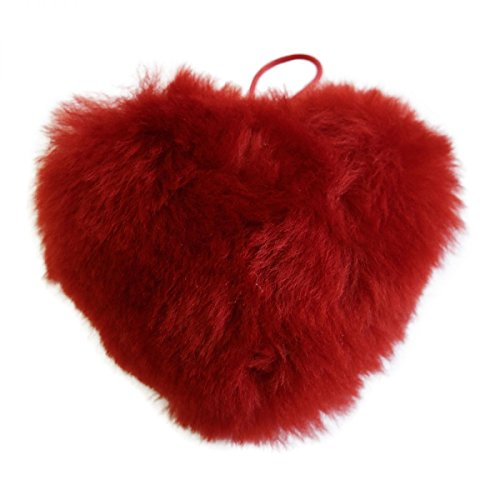 Lammfell Anhänger - HERZ Deko Valentinstag Geschenk Echtfell Farbe Rot (Rot Lammfell Handtasche)