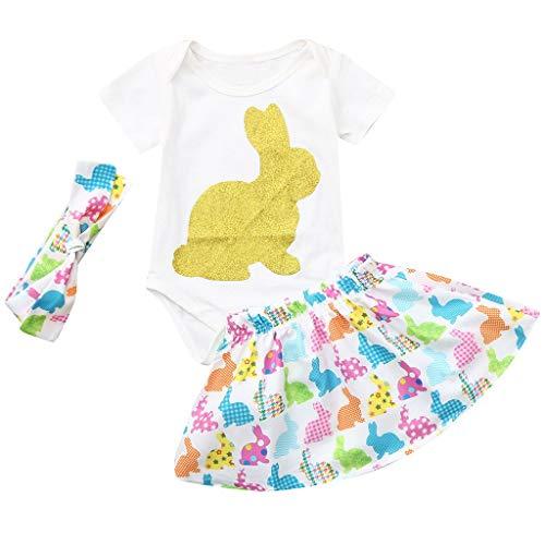 stern Kleinkind Baby Kurze Ärmel Kaninchen Strampler Tops + Rock + Stirnbänder Set Outfit (Weiß,90) ()