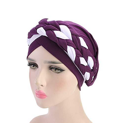 FDBQC Doppelte Farbe Zöpfe Stretch Turban Rüschen Haare Hüte Beanie Bandanas Schal Kopf Wickeln Kopfbedeckungen Für Frauen (Für Wickeln Haare Zöpfe)