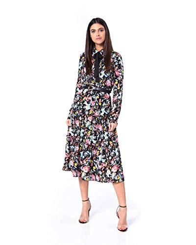 fc769031d51b62 Silvian Heach Donne Vestito con Fiocco al Collo Jakarta - Motivo Floreale,  Vestito Lungo -