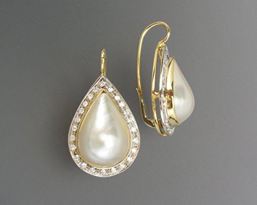 Bardi - Orecchini a Goccia in oro bianco e giallo 18k con perla e contorno di brillanti (0,50ct)