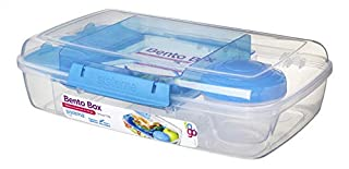 Sistema Bento Lunch Box to Go with Fruit/Yogurt Pot, 1.65 L - Clear/Blue (B071WVZSZT)   Amazon price tracker / tracking, Amazon price history charts, Amazon price watches, Amazon price drop alerts