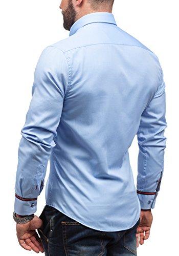 BOLF Herren Langarm Herrenhemd Figurbetont Freizeit Slim Casual 5801 Hellblau
