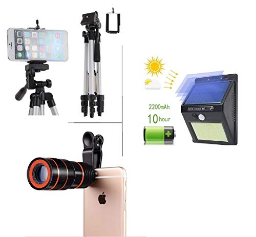 Un-Tech 3110 Aluminum Portable Tripod for Mobile Phone + Solar Motion Sensor 20 LED Wall Light -Pack of 2 + Telescope 8X Optical Zoom Phone Camera Lens