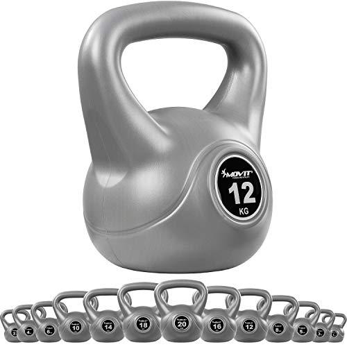 MOVIT® Kettlebell Basic Kugelhantel mit bodenschonender Kunststoffummantelung, 15 Varianten: 1 bis 24 kg