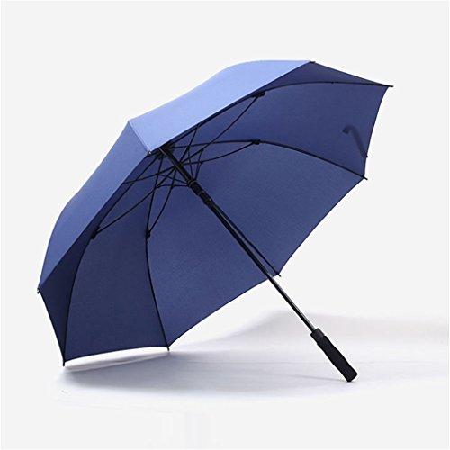 Jpp ombrello dritto, doppio ombrello semi-automatico sovradimensionato, 130cm2-3 persone disponibili, nero rosso blu, grande ombrello, ombrello 2 persone (colore : blu)