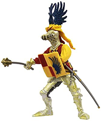 Plastoy 62018 Figurine- Knight with Blue-Winged Helmet and Red Check (Standing Figurine, Can Also Be Mounted on Horseback)