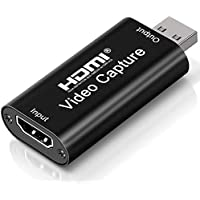 DIWUER Capturadora de Video HDMI, 4K HDMI a USB 2.0 Convertidor Video Audio, HDMI Vídeo Game Capture 1080P 30FPS para Edite Video/Juego/Transmisión/Enseñanza en línea