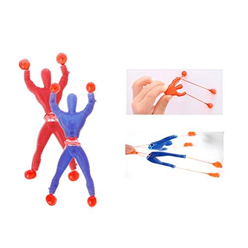 FXCO Mini lustige klebrige elastische Spider Man klebrige Hände Spaß Dehnbare Wand Klettern Super Hero klebrige Eidechsen und klebrige Hämmer Abbildung dehnbar Kinder Spielzeug